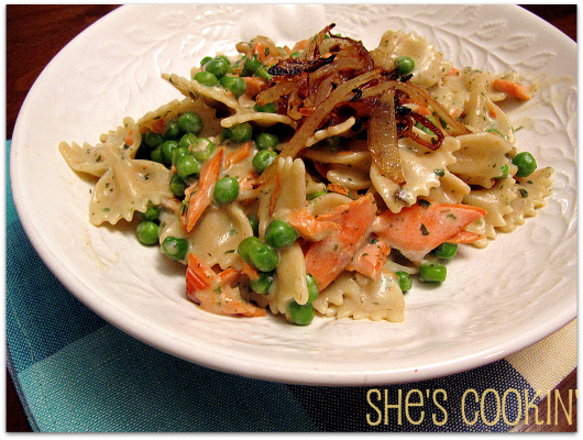 Salmon with Peas and Bow Tie Pasta