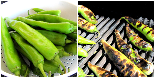 Hatch chiles, grilled Hatch chiles