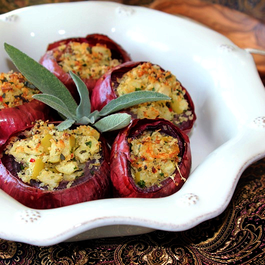 mushroom, apple, and sage stuffed onions, easy thanksgiving recipes