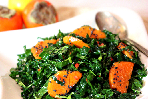 Kale salad with persimmons