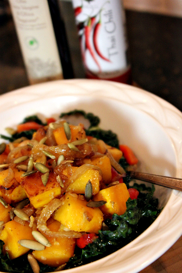 Kale salad, Kale with Caramelized Squash and Onion