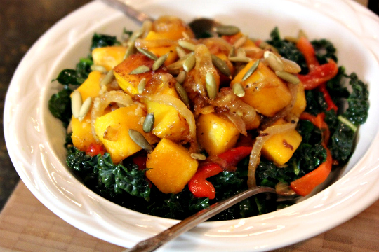 Kale Salad, Kale with Caramelized Squash and Onions