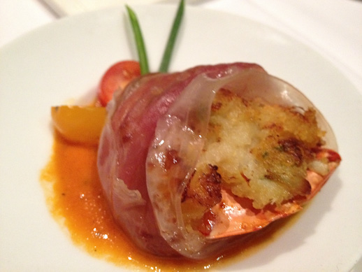 Lucca Cafe, crab stuffed shrimp, shrimp wrapped in prosciutto