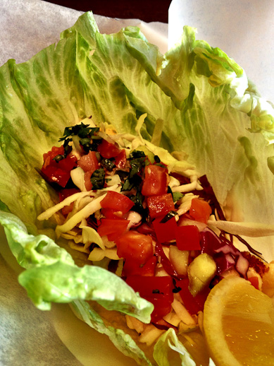 Lettuce wraps, Spike's Fish House, panko crusted fish lettuce wraps
