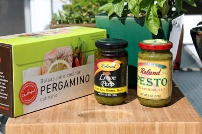 Paper Chef parchment bags, Roland Foods pesto