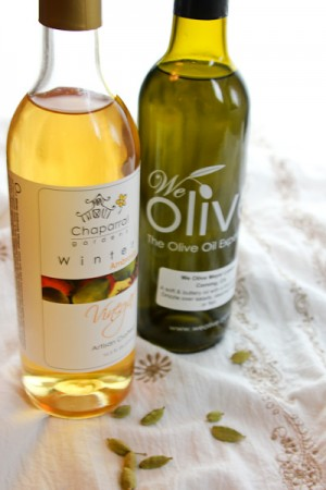 We Olive olive oil, Chaparral ambrosia vinegar