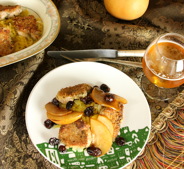 Pan-fried Pork Tenderloin with Korean Pears, Cherries and Spaghetti Squash