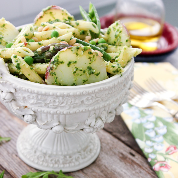 Potato with Arugula Pesto, Potato, Asparagus and Peas | ShesCookin.com