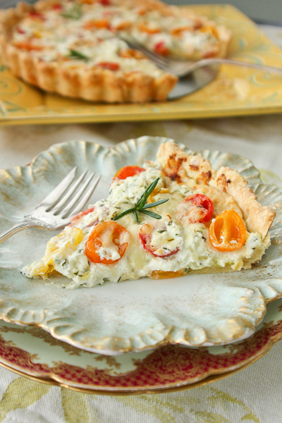 Herbed Heirloom Tomato Tart, tomato tart, french tomato tart