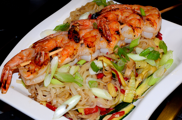Grilled Shrimp with Pad Thai Noodles and Lime Sauce