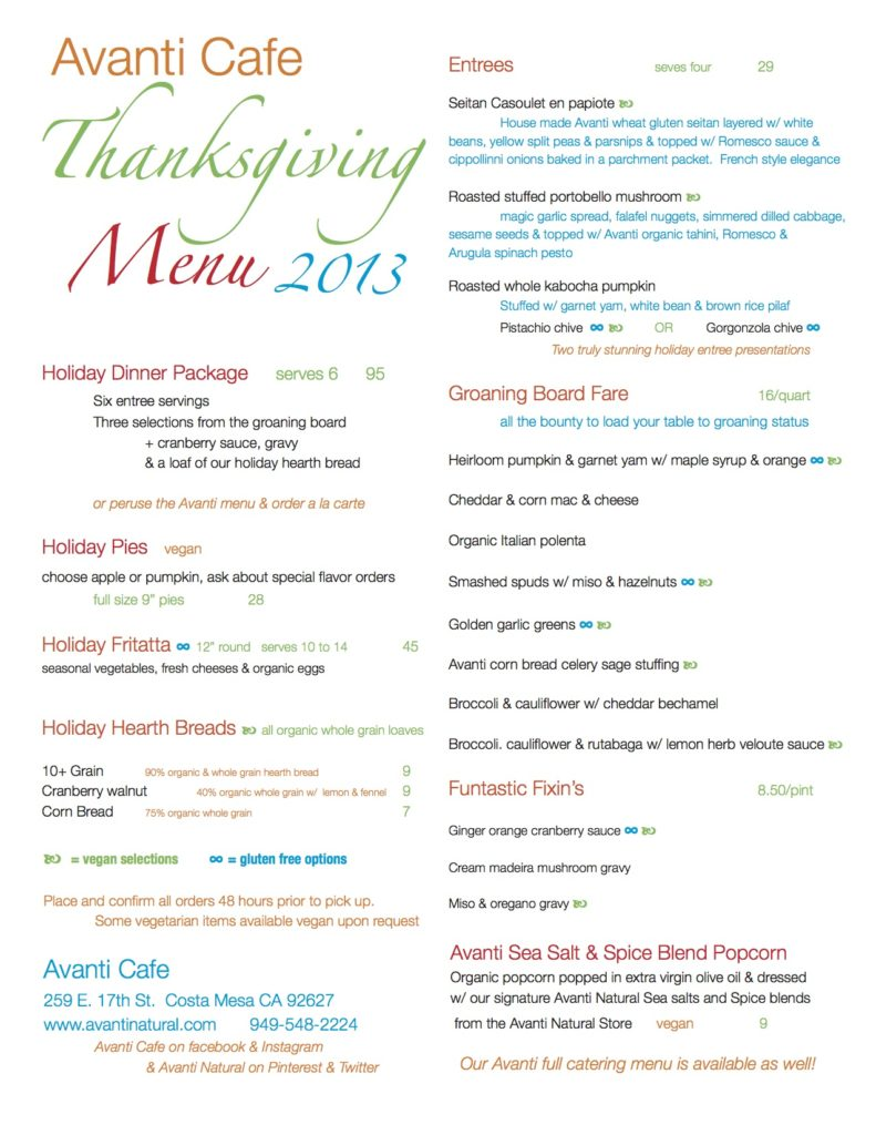 Avanti Cafe Vegan Thanksgiving
