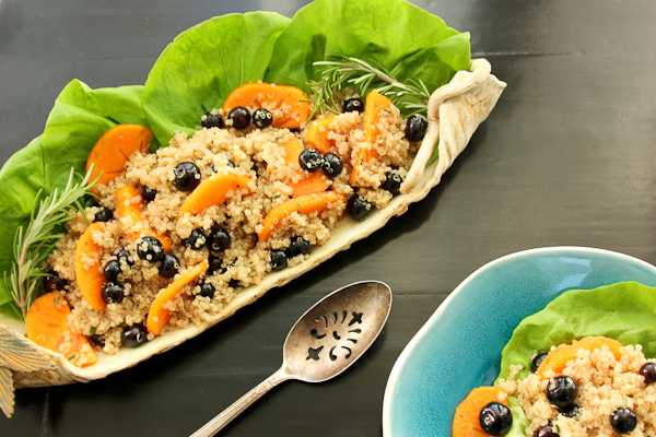 Blueberry Persimmon Quinoa Salad with Rosemary Balsamic Vinaigrette