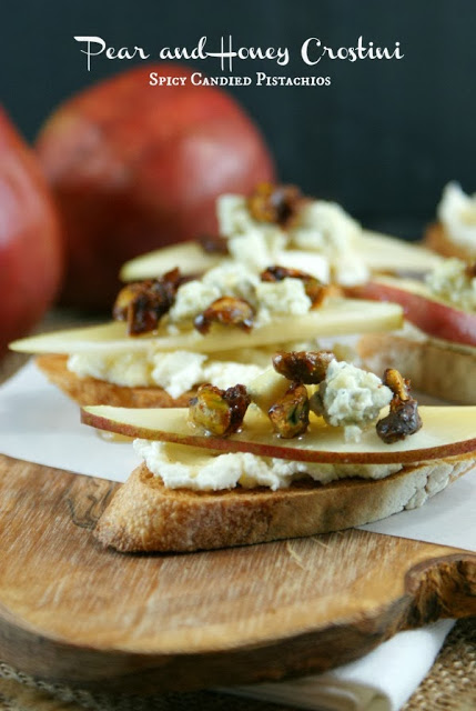 Spicy Pear and Honey Crostini