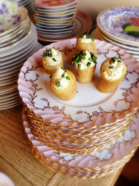 Fingerling Potatoes with Salmon Mousse-