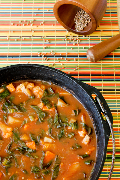 African Potato & Cauliflower Stew, vegetarian stew, African vegetable stew