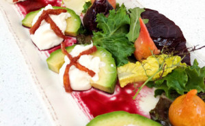 Salt Roasted Garden Beet Salad with Burratta, Avocado, Mandarin Aigre-Doux, Sherry-Maple Vinaigrette