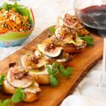 Rioja wine with Fig & Caramelized Shallot Crostini
