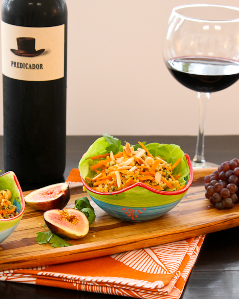 Rioja wine with Carrot, Quinoa, Chickpea Salad