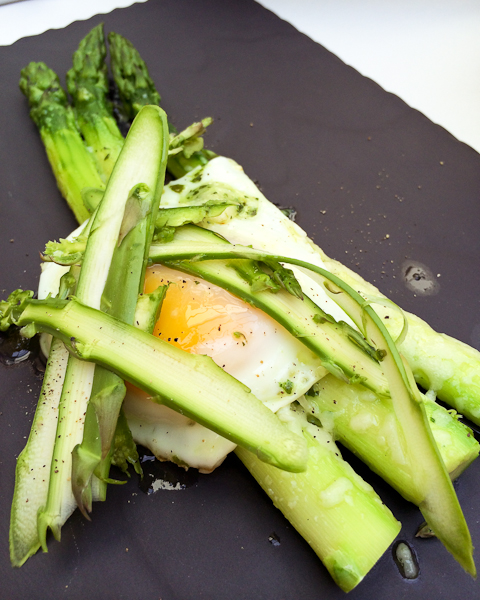 Asparagus Gratin topped w/ Fried Egg