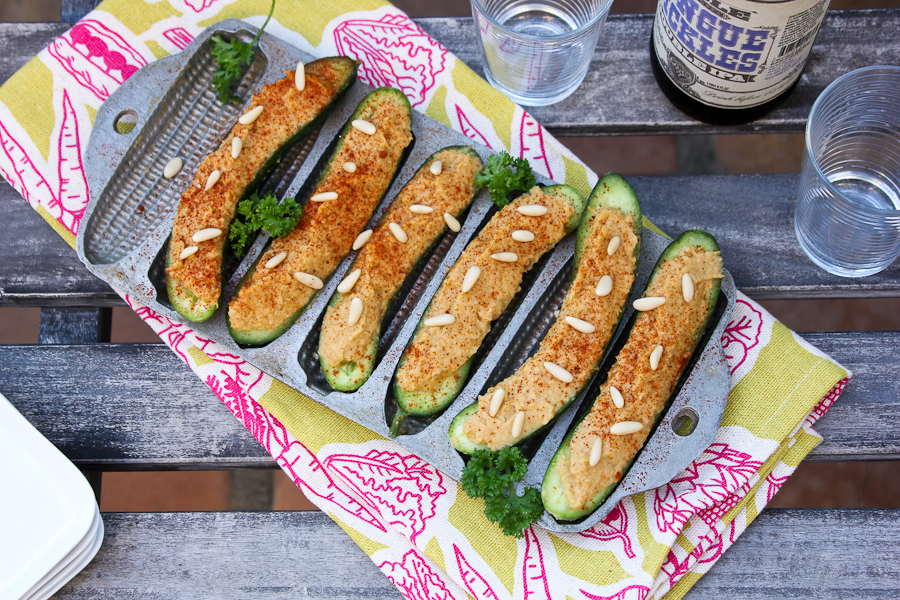 Cucumber Hatch Chile Hummus Boats