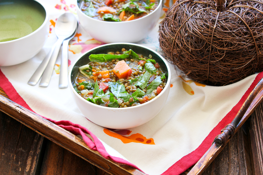 Ode to Autumn: Sweet Potato and Lentil Soup with Swiss Chard