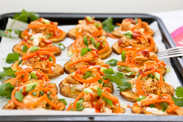 Skinny Sriracha Chicken Potato Skins | She's Cookin ...