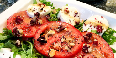 Heirloom Tomato, Fresh Mozzarella Caprese Salad with Red Walnuts